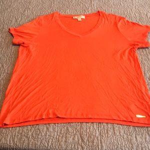 Michael Kors Orange v-neck t-shirt super soft EUC